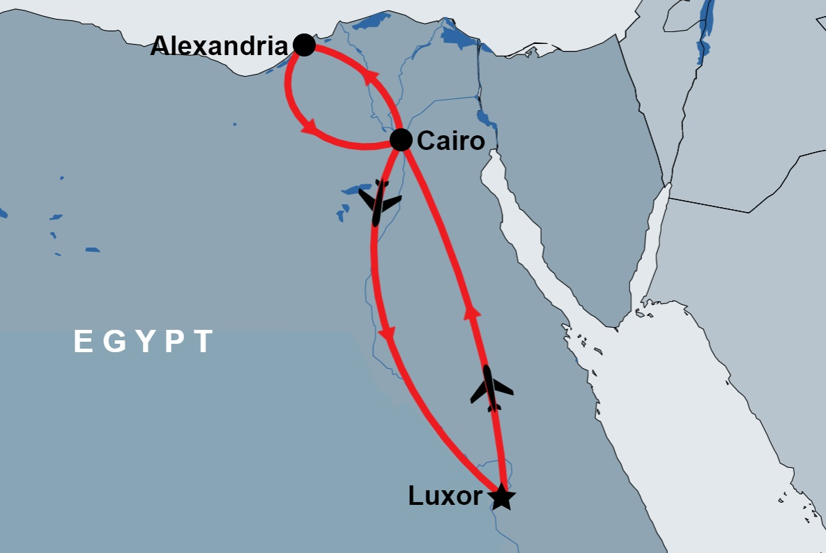 Overnight Trip to Cairo and Alexandria from Luxor by Flight map
