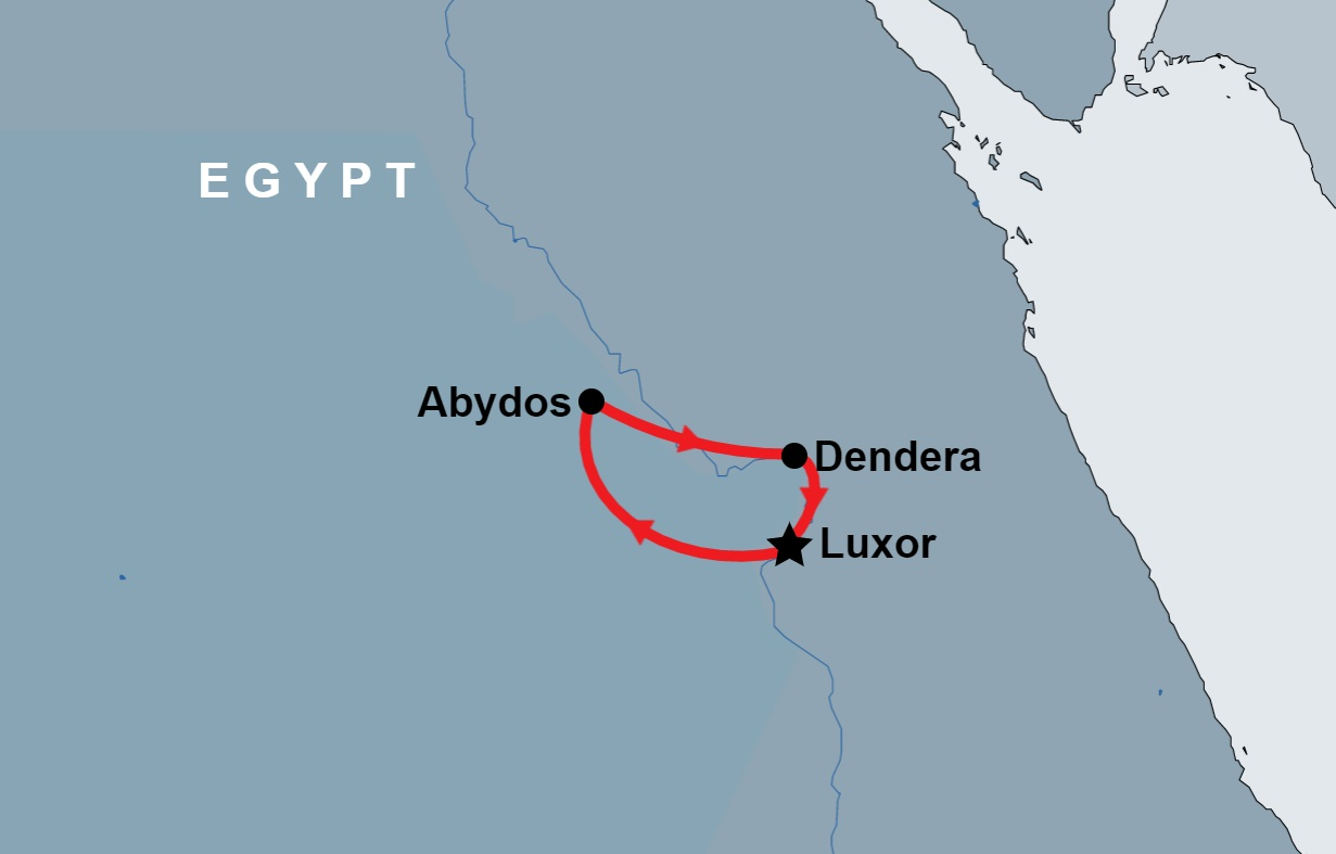2 Day Luxor, Dendera and Abydos map
