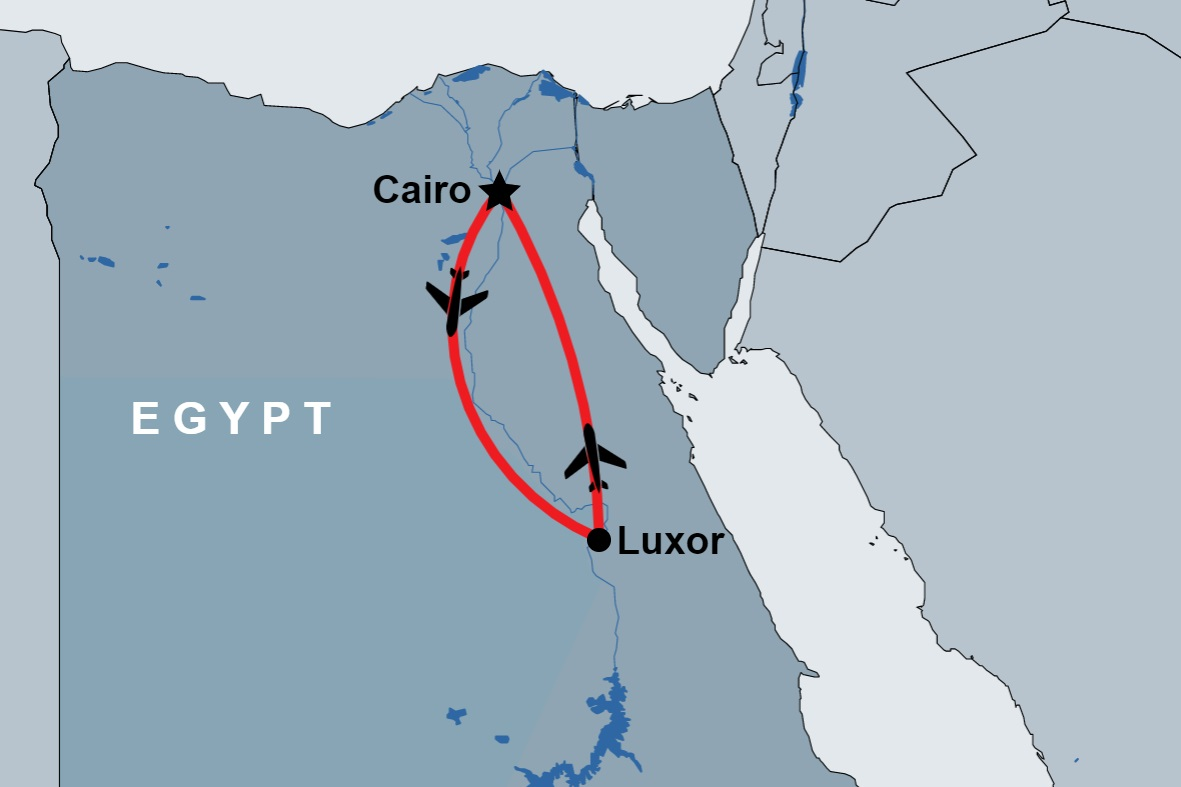 Overnight Trip to Luxor from Cairo map