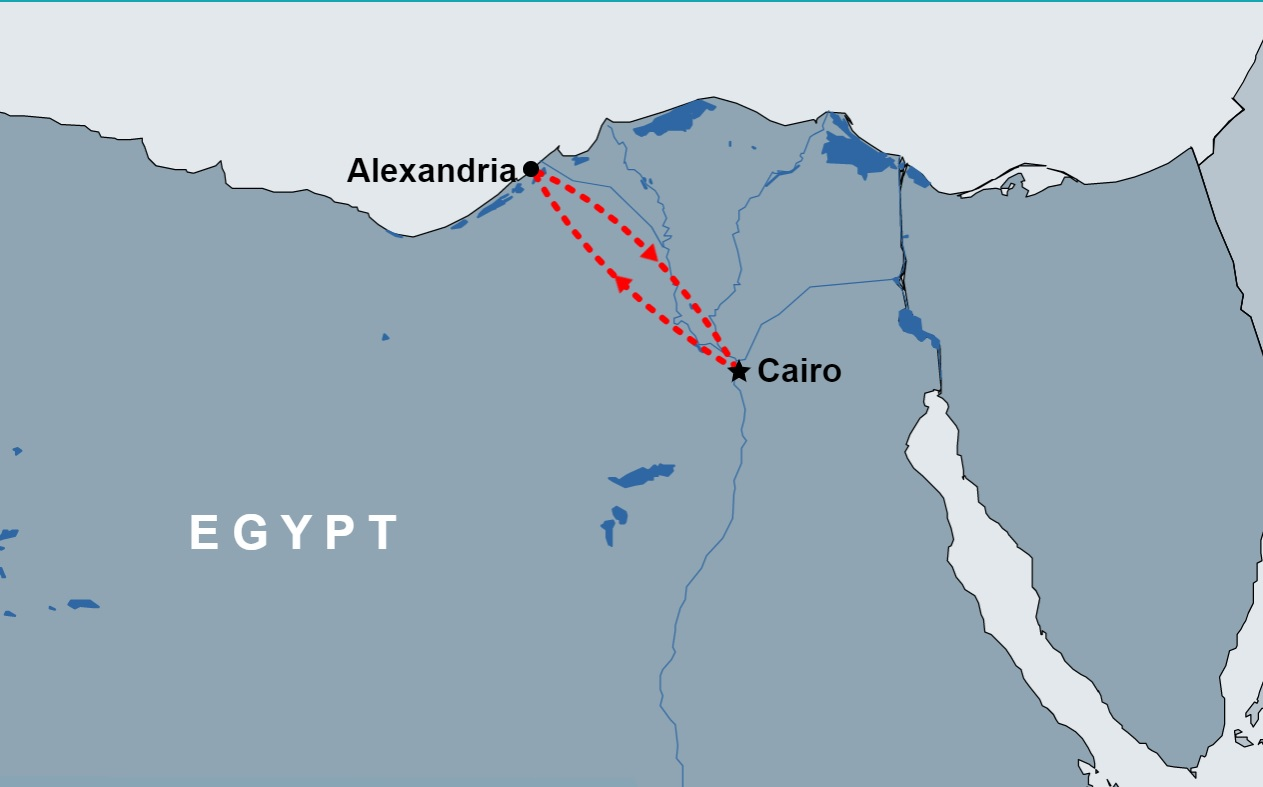 2 Day Cairo and Alexandria Tour Package map