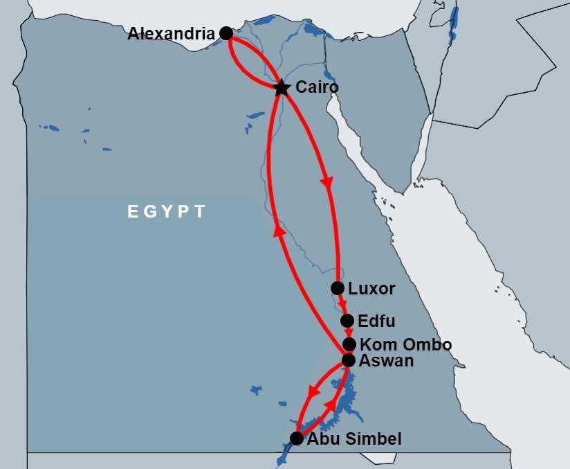 9 Day Cairo, Alexandria, Luxor, Edfu, Kom Ombo, Aswan, Abu Simbel map
