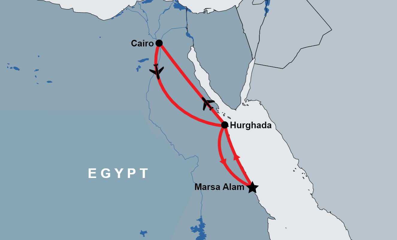 2 Day Trip to Cairo from Marsa Alam map