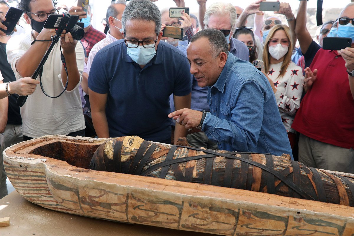 Egypt discover 59 ancient coffins found near Saqqara pyramids, many of which hold mummies